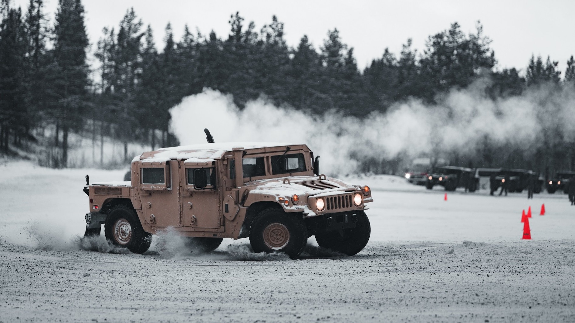 U.S. Marines with Marine Rotational Force Europe 21.1 (MRF-E), Marine Forces Europe and Africa, participate in a tactical drivers training course in Setermoen, Norway, Feb. 5, 2021.