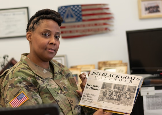 Sgt. 1st Class Gertha L. Cleveland, assigned to the Virginia Army National Guard's Recruiting and Retention Battalion, shares stories about her military experience and what African American History Month means to her Feb 10, 2021, in Norfolk, Virginia. (U.S. Army National Guard photo by Staff Sgt. Lisa M. Sadler)