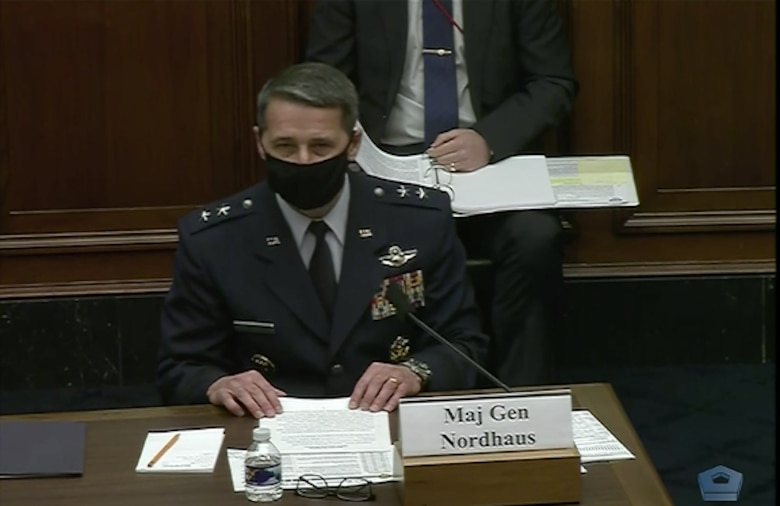 Still image from video of Maj. Gen. Steven S. Nordhaus, director of operations at the National Guard Bureau, testifying before the House Armed Services Committee in Washington, Feb. 17, 2021. Nordhaus told the committee the Guard is vaccinating about 72,000 people a day across the country.