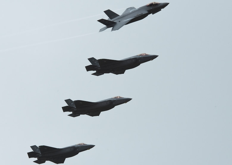 Four U.S. Air Force F-35A Lightning II assigned to the 356th Fighter Squadron at Eielson Air Force Base, Alaska, fly in formation over Andersen AFB, Guam, as part of Cope North 21 Feb. 6, 2021. Cope North is an annual multinational exercise designed to increase capabilities and improve interoperability among partner nations, and this year's exercise focuses on humanitarian assistance and disaster relief operations, large force employment and combat air forces training, and this is the F-35A's first year participating in Cope North. (U.S. Air Force photo by Senior Airman Jonathan Valdes Montijo)