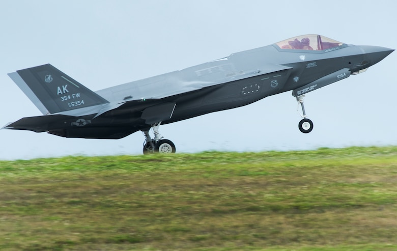 A U.S. Air Force F-35A Lightning II assigned to the 356th Fighter Squadron at Eielson Air Force Base, Alaska, lands at Andersen AFB, Guam, as part of Cope North 21 Feb. 6, 2021. This year marks the F-35As first time participating in the Pacific Air Force's largest multinational exercise. (U.S. Air Force photo by Senior Airman Jonathan Valdes Montijo)