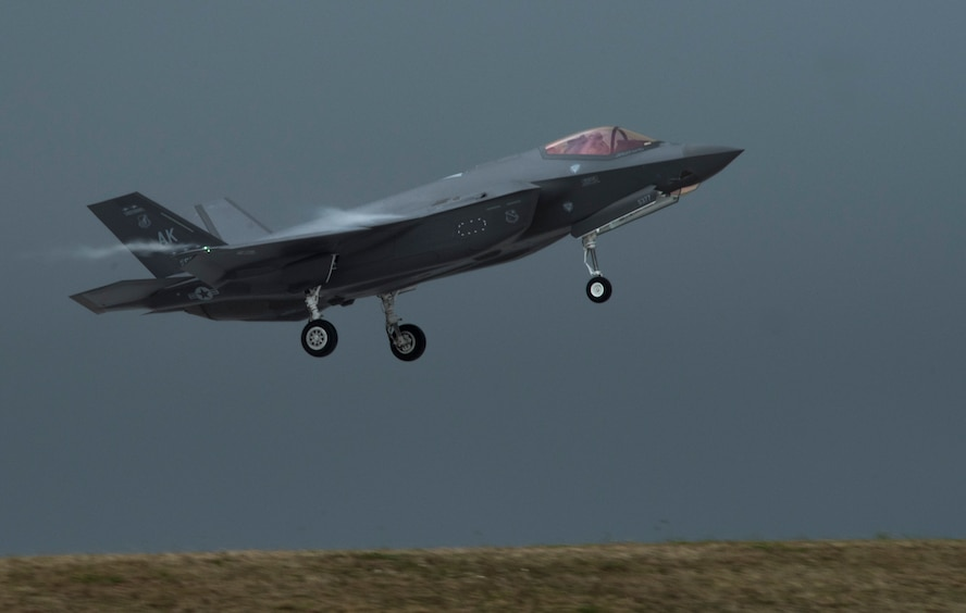 A U.S. Air Force F-35A Lightning II assigned to the 356th Fighter Squadron at Eielson Air Force Base, Alaska, prepares to land at Andersen AFB, Guam, as part of Cope North 21 Feb. 6, 2021. Cope North is an annual multinational exercise designed to increase capabilities and improve interoperability among partner nations, and this year's exercise focuses on humanitarian assistance and disaster relief operations, large force employment and combat air forces training. (U.S. Air Force photo by Senior Airman Jonathan Valdes Montijo)