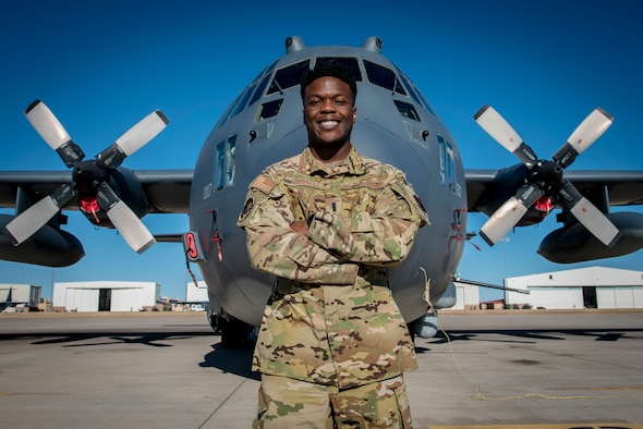 1st Lt. Bryan Driskell, an AC-130W Stinger II aircraft pilot with the 16th Special Operations Squadron, stands in front of his assigned aircraft at Cannon Air Force Base, N.M., Jan. 27, 2021. Driskell had decided to become a pilot after taking a flying class during his sophomore year at the Air Force Academy. (U.S. Air Force photo by Senior Airman Vernon R. Walter III)
