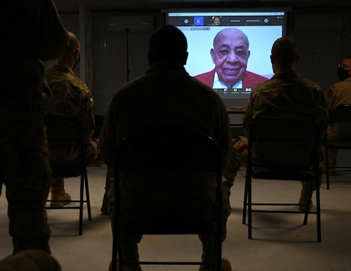 Tuskegee Airman, retired Lt. Col. Harold Brown, answers questions from Airmen during a virtual appearance at the 332nd Air Expeditionary Wing, Feb. 17, 2021. The appearance coincided with Black History Month and featured questions from young service members, commanders as well as current F-15E Strike Eagle pilots currently deployed to the Middle East.