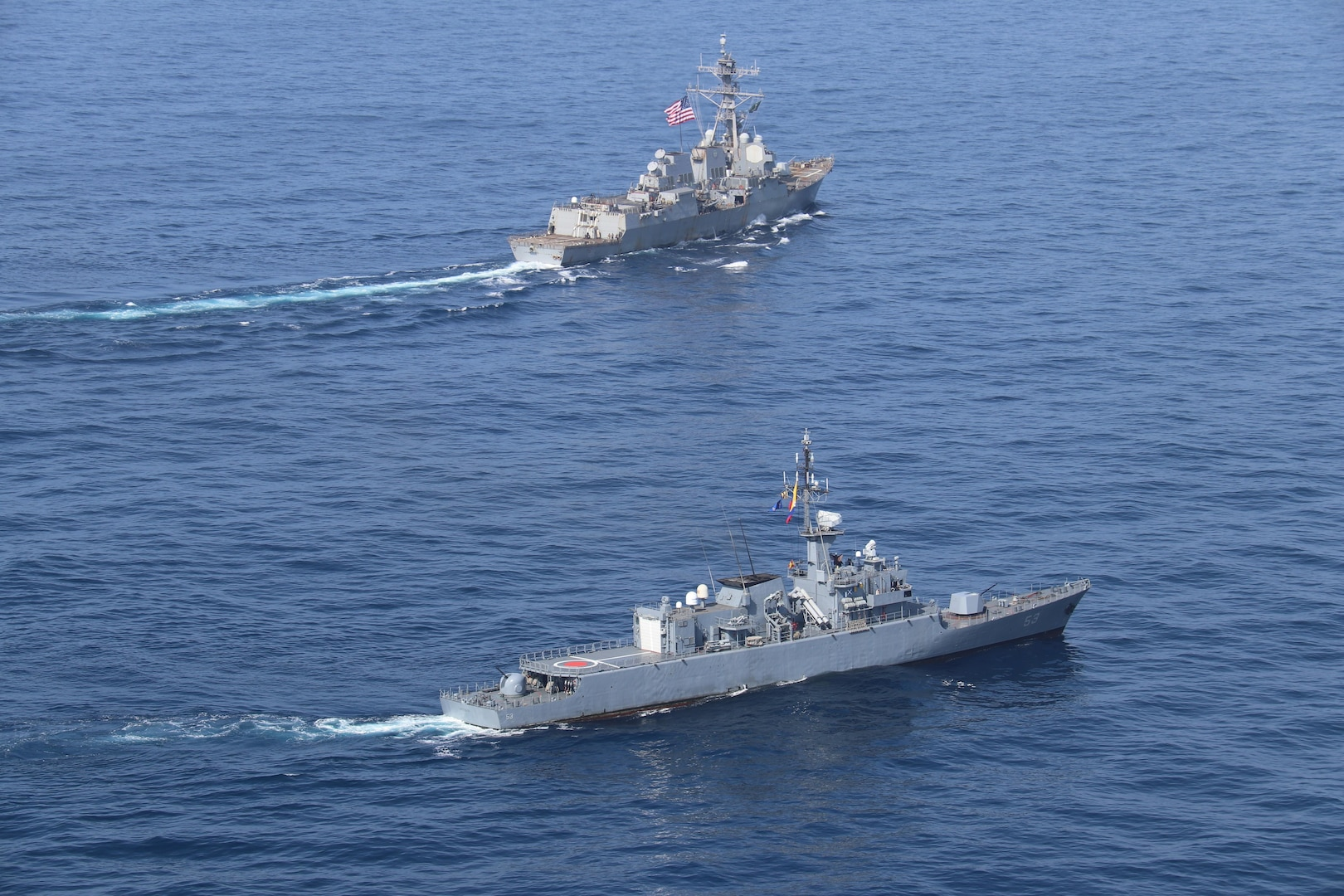 USS James E. Williams (DDG 95) conducts a passing exercise (PASSEX) with the Colombian naval frigate ARC Antioquia (FM-53) in the Caribbean Sea.
