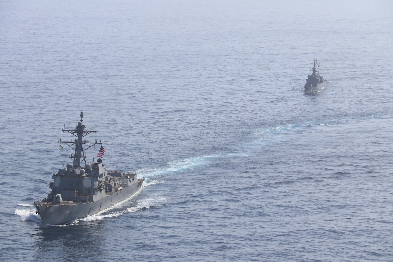 USS James E. Williams (DDG 95) conducts a  passing exercise with the Colombian navy in the Caribbean Sea.