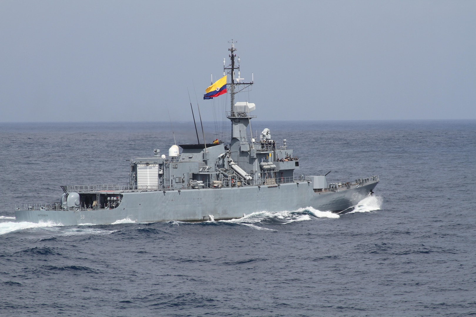 The Colombian naval frigate ARC Antioquia (FM-53) transits in the Caribbean Sea while conducting a passing exercise (PASSEX) with the Arleigh Burke-class guided-missile destroyer USS James E. Williams (DDG 95) Feb. 15.