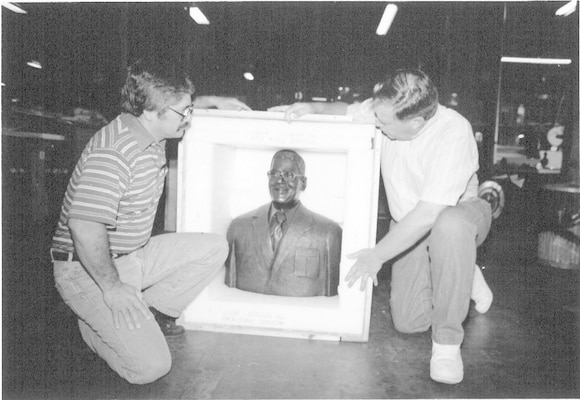 "Photo of Wilber Miller's bust, sculpted by Emilio Torres, being unpacked before placement at the Kelly Veteran's Memorial Park, ""Ring of Honor"" at Kelly Air Force Base, which is now Port San Antonio. (Courtesy photo)"