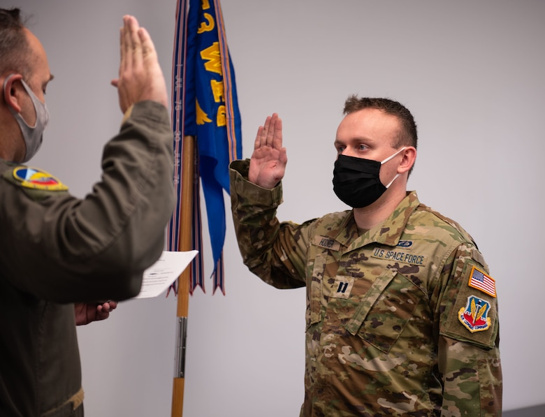 Uniformed members takes oath to transition to Space Force.