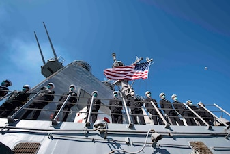 USS Mitscher (DDG 57) departs for a deployment.
