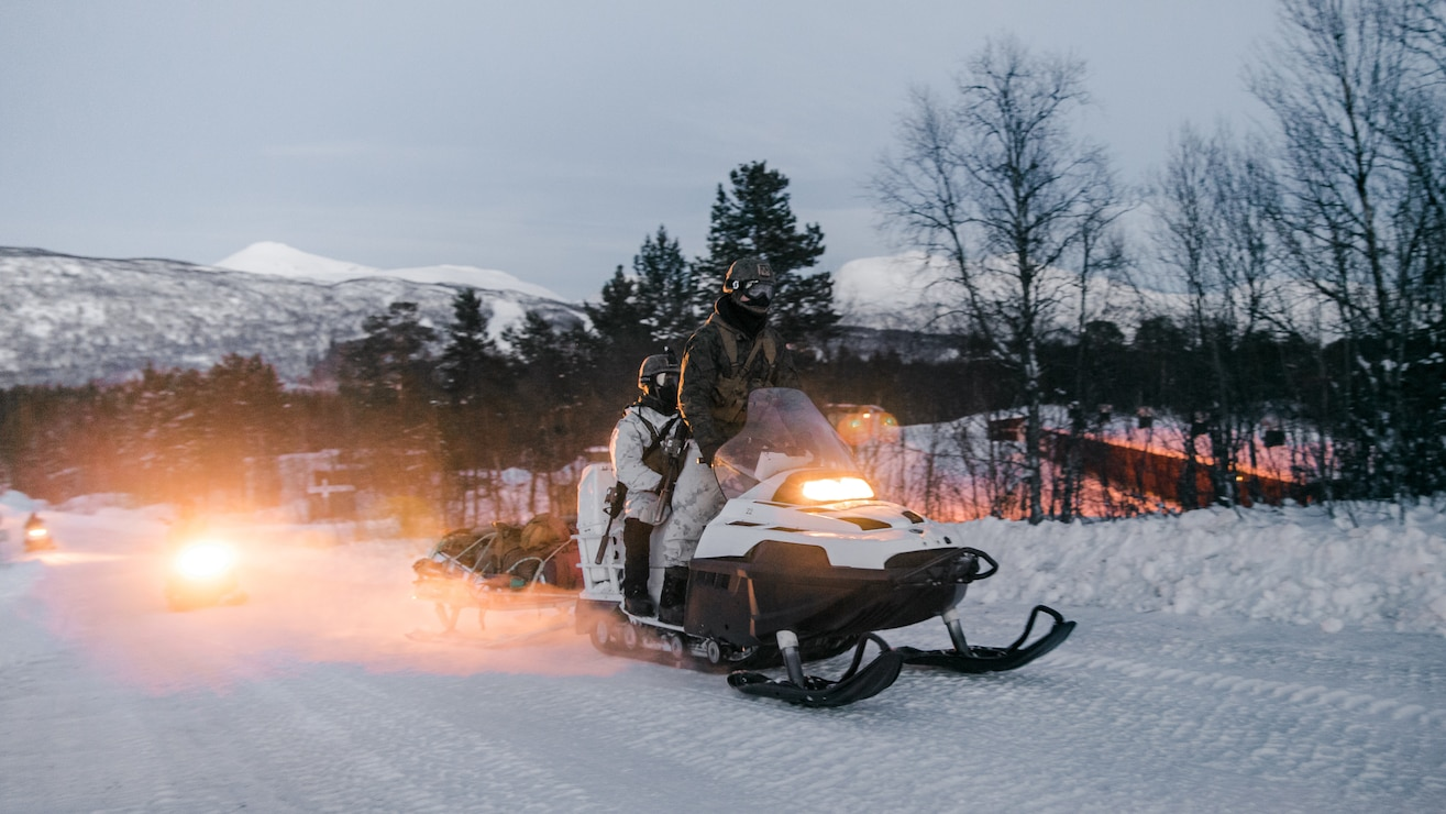 U.S. Marines participate in a snowmobile training event in Setermoen, Norway, Feb. 17.