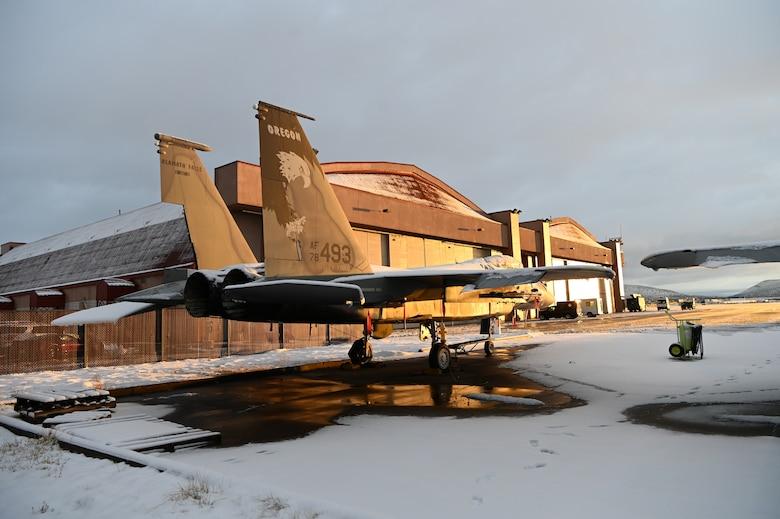 snow on an F-15