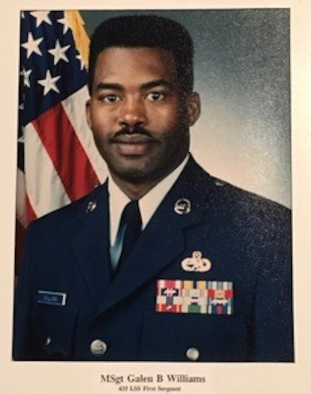 Master Sgt. (ret.) Galen Williams, former 435th Aircraft Maintenance and Logistic Readiness Squadrons first sergeant, poses for an official photo at Rhein-Main Air Base, Germany circa 1995. Williams will retire from Hanscom Air Force Base, Mass., Feb. 27. after 46 years of combined military and civil service. (Courtesy Photo)