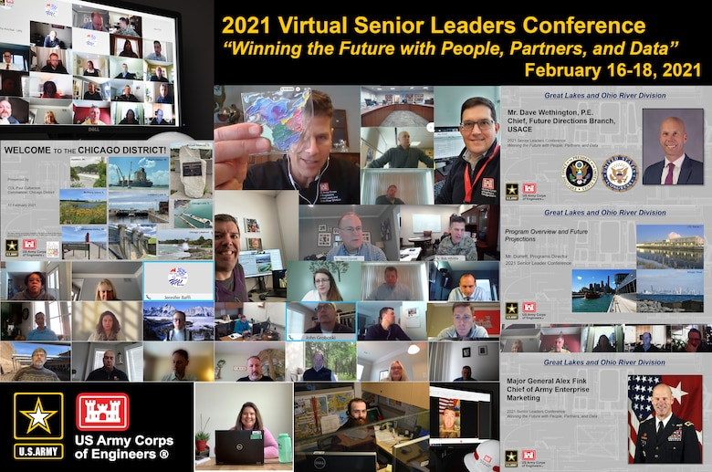 Graphic image depicts the U.S. Army Corps of Engineers, Great Lakes and Ohio River Division, conducted its Virtual Senior Leader Conference Feb. 16-18, 2021. The conference originally had been planned to be mixed virtual and in person hosted by the USACE Chicago District until extreme winter weather across the Midwest altered travel plans. (U.S. Army graphic by Patrick Bray/Released)