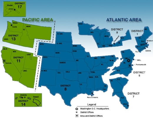 Chart showing location of District 5 within Atlantic Area and the states within its boundaries. (U.S. Coast Guard)