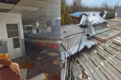 Hurricane damage to a school's roof and classroom