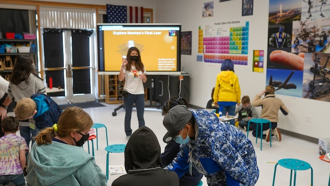 STARBASE Hill students listen to a lesson on Newton's first law, Feb. 18, 2021, at Hill Air Force Base, Utah.