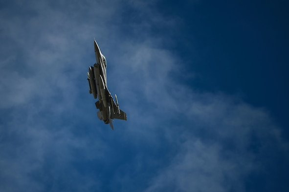A U.S. Air Force F-16 Fighting Falcon assigned to the 510th Fighter Squadron soars above Amendola Air Base, Italy, during an Agile Combat Employment exercise, Feb. 16, 2021. During the exercise, the 555th and 510th Fighter Squadron executed counter air training with Italian air force F-35 Lightning II. (U.S. Air Force photo by Senior Airman Ericka A. Woolever)