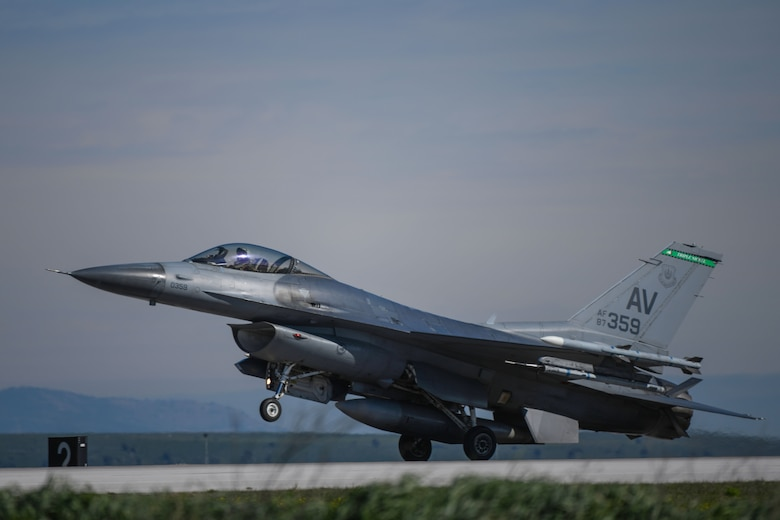 A U.S. Air Force F-16 Fighting Falcon assigned to the 555th Fighter Squadron lands during an Agile Combat Employment (ACE) exercise at Amendola Air Base, Italy, Feb. 17, 2021. ACE exercises ensure Airmen and aircrews are postured to provide lethal combat power across the spectrum of military operations. (U.S. Air Force photo by Senior Airman Ericka A. Woolever)