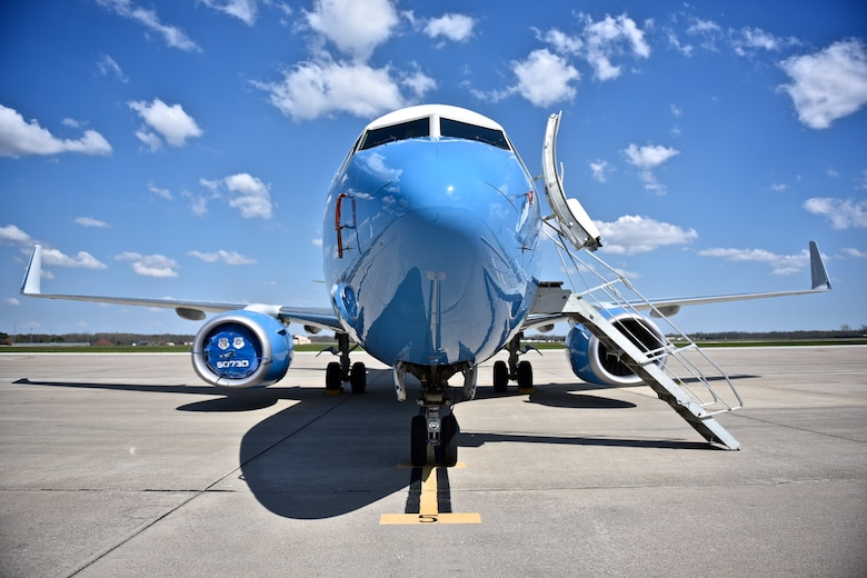 A 932nd Airlift Wing C-40 enjoys the sunshine and cool breeze while waiting for a civic leader tour April 15, 2016, Scott Air Force Base, Illinois.  (U.S. Air Force photo by Christopher Parr)