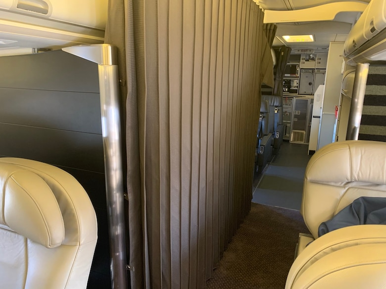 A sound deadening curtain in the crew rest area. (Courtesy photo)