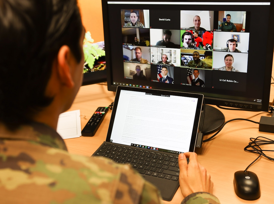 Captain David Carte, Inter-European Air Forces Academy instructor, conducts remote learning with NATO students at Kapaun Air Station, Germany, Feb. 12, 2021. The IEAFA students discussed adult education theories and practiced delivery methods that will be applied to professional military education in their own armed forces. (Courtesy photo by Inter-European Air Forces Academy)