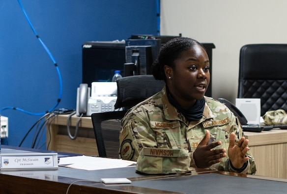 """The 378th Air Expeditionary Wing hosted an """"Our Own Backyard"""" panel as part of a month-long series of discussions and activities designed to highlight Black History Month, Feb. 20, 2021, at Prince Sultan Air Base, Kingdom of Saudi Arabia."""