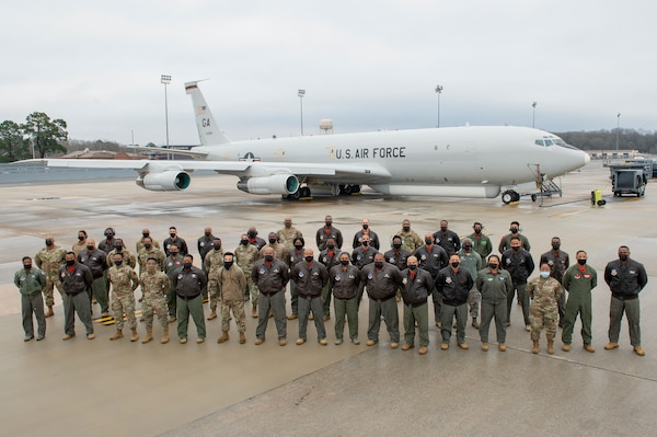 U.S. Airmen and Soldiers from the Georgia Air National Guard's 116th Air Control Wing, active-duty Air Force 461st Air Control Wing, and the Army's 138th Military Intelligence Company made history Feb. 19, 2021, when the first all-African American JSTARS flight crew flew from Robins Air Force Base on a training mission to commemorate Black History Month.