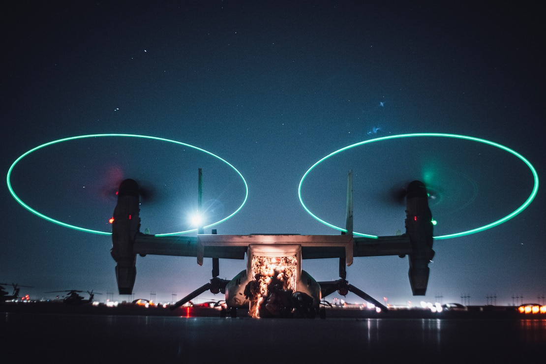 U.S. Marines load into an MV-22 Osprey to conduct a reconnaissance and surveillance mission insertion during Realistic Urban Training exercise at Marine Corps Air Station Yuma, Arizona, Feb. 19.