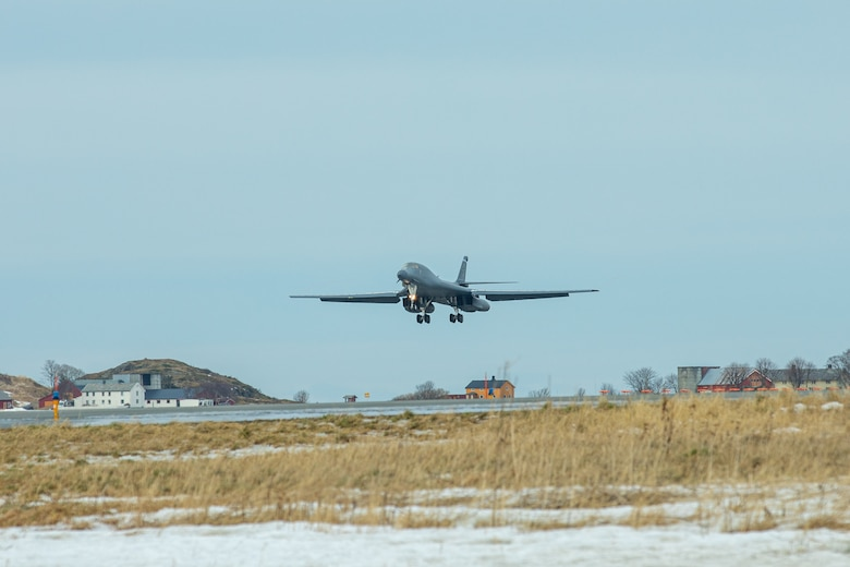 U.S. Air Force B-1B Bomber aircraft arrived at Orland Air Station, Norway to begin a Bomber Task Force Europe Mission, Feb. 22, 2021. These bomber missions are representative of the U.S. commitment to our allies and enhancing regional security (Courtesy photo).