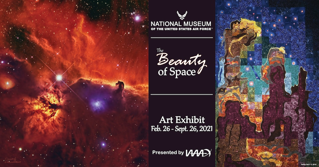 "Artwork featured in the illustration include ""The Pillars of Creation, A Stellar Nursery"" by Robin Hart and ""Horsehead and Flame Nebulae"" by Kenneth Naiff."
