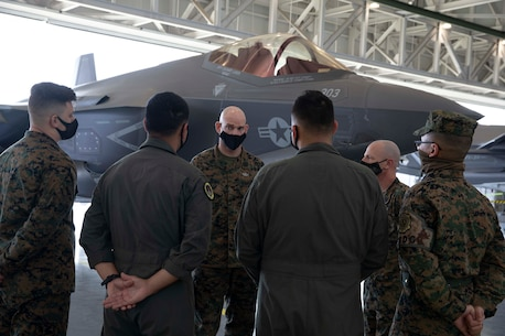 The 19th Sergeant Major of the Marine Corps, Sgt. Maj. Troy E. Black, tours VMFA-314, 3rd Marine Aircraft Wing (MAW) at Marine Corps Air Station Miramar, San Diego, Ca, Feb. 11, 2021. The Sergeant Major of the Marine Corps conducted the visit to speak to Marines, especially those that work on the newest Marine aviation platform, the F-35.  Marine Aircraft Group 11 generates, embarks, and integrates relevant, combat ready aviation forces capable of providing Offensive Air Support, Anti-Aircraft Warfare, Assault Support, Aerial Reconnaissance, and terminal area Control of Aircraft. (U.S. Marine Corps photo by Sgt. Victoria Ross)