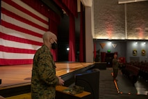 The 19th Sergeant Major of the Marine Corps, Sgt. Maj. Troy E. Black, speaks with Staff Non-Commissioned Officers at Marine Corps Air Station Miramar, San Diego, Ca, Feb. 11, 2021. The Sergeant Major of the Marine Corps conducted the visit to address the future roles and responsibilities of SNCO's in Force Design 2030. The Marines in attendance work at MCAS Miramar and the 3rd Marine Aircraft Wing. (U.S. Marine Corps photo by Sgt. Victoria Ross)