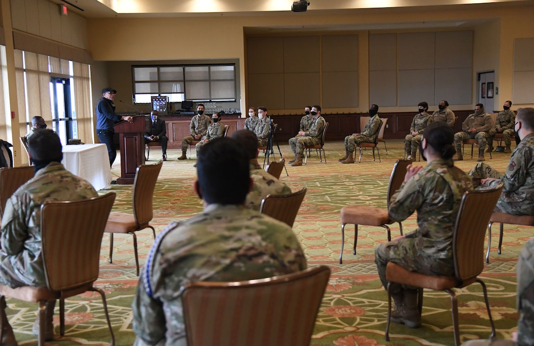 """Rip Daniels, WJZD radio station CEO and """"It's a New Day"""" host, delivers remarks inside the Bay Breeze Event Center at Keesler Air Force Base, Mississippi, Feb. 18, 2021. Daniels served as the keynote speaker as Keesler celebrated National African American History Month. (U.S. Air Force photo by Kemberly Groue)"""