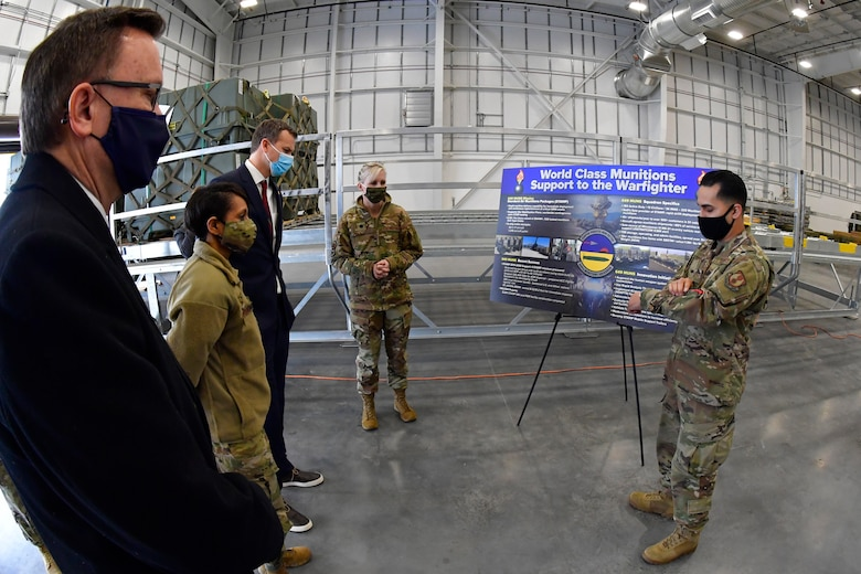 (Left to right) Peter Jenks, district director for Utah Rep. Blake Moore, Col. Jenise Carroll, 75th Air Base Wing commander, Moore, and Lt. Col. Naomi Franchetti, 649th Munitions Squadron commander, listen to Senior Airman Armando Pena, 649th MUNS, during a visit to the squadron at Hill Air Force Base, Utah, Feb. 16, 2021.