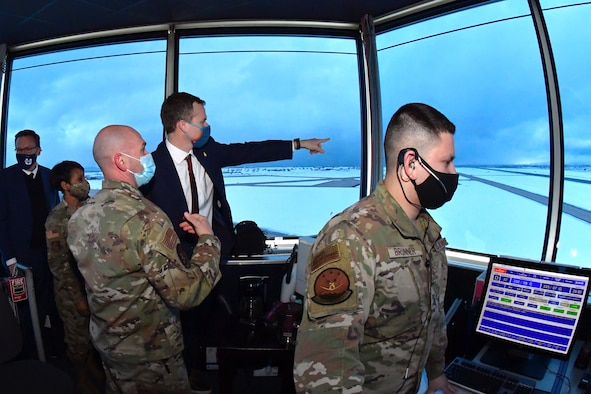 Lt. Col. Joseph Michaels (center), 75th Operations Support Squadron commander, explains air traffic control operations to Utah Rep. Blake Moore and Hill leadership during a visit to the air traffic control tower at Hill Air Force Base, Utah, Feb. 16, 2021.