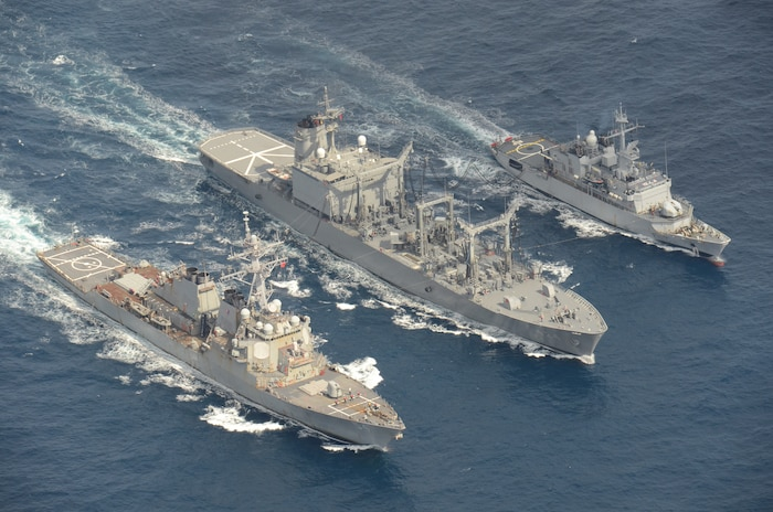USS Curtis Wilbur conducts trilateral replenishment-at-sea with Japan, France
