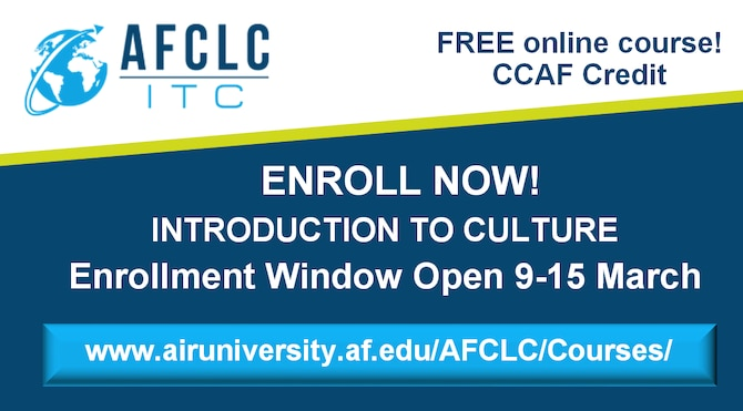 Enrollment Window Open for Introduction to Culture – 9-15 March