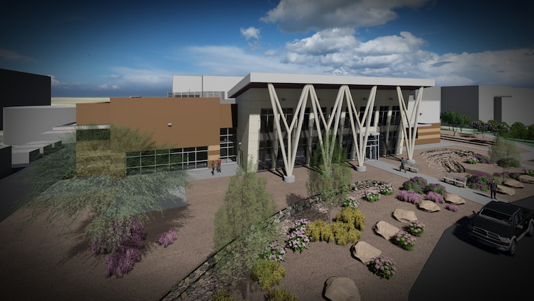 Pictured is an artist rendering of the Joint Simulation Environment facility at Edwards Air Force Base, California. Officials broke ground for the facility during a Feb. 18 ceremony at the base. The $34.4-million-dollar project is slated for completion by the end of August 2022.