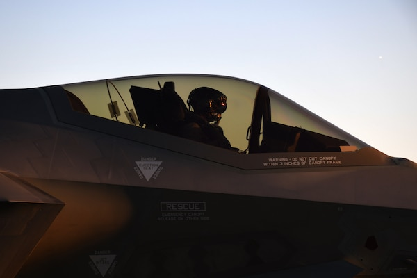 Pilot in cockpit of F-35