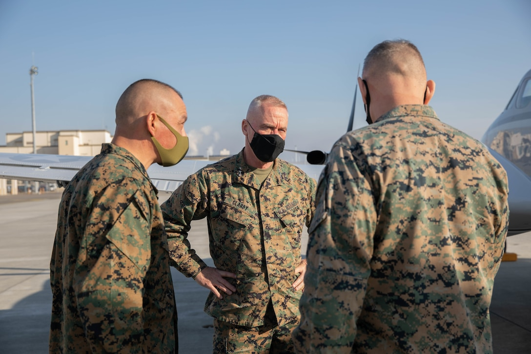 U.S. Marine Corps Lt. Gen. H. Stacy Clardy, III Marine Expeditionary Force commanding general, arrives at Marine Corps Air Station Iwakuni during MEFEX 21.