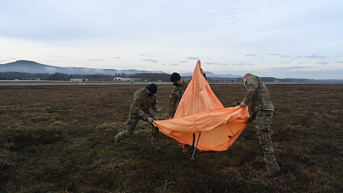 U.S. Air Force Airmen from the 37th AS, 86th Operations Support Squadron, 435th Contingency Response Group and U.S. Army Soldiers from the 5th Quartermaster Company worked together to make the personnel airdrop possible.