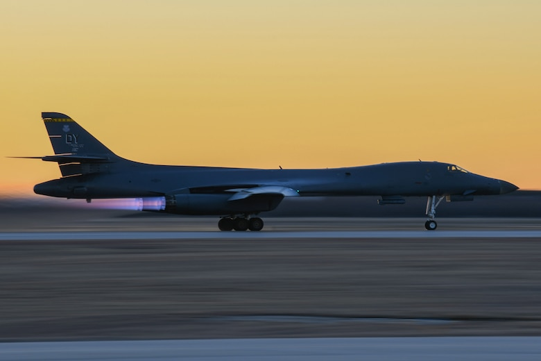 A B-1B Lancer prepares to take off from Dyess Air Force Base, Texas, Feb. 21, 2021. The 7th Bomb Wing routinely supports bomber training missions around the globe. (U.S. Air Force photo by Airman 1st Class Josiah Brown)