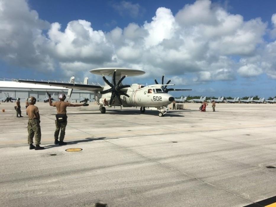 E2 aircraft on a flight line
