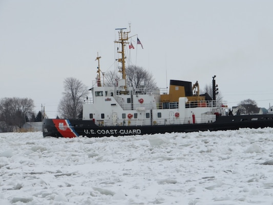 Coast Guard Cutter Morro Bay cuts through ice on February 10, 2021 on the St. Clair River in support of Operation Coal Shovel. Operation Coal Shovel is an annual domestic ice-breaking mission conducted on Lakes Huron, Ontario, Erie, St. Clair, the St. Clair/Detroit river system and St. Lawrence Seaway.
