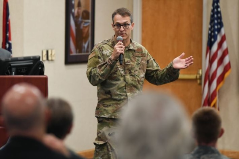 Brig. Gen. Scott Cain, 96th Test Wing commander at Eglin Air Force Base, Fla., addresses attendees at the Hanscom Test Workshop at the conference center at Hanscom Air Force Base, Mass., on Oct. 21, 2019. The 96th Cyberspace Test Group, Detachment 1, will host the now-quarterly workshop virtually March 2 to impart information on test initiatives, share ideas, and enhance relationships between Hanscom's acquisition community and the test community (U.S. Air Force photo by Mark Herlihy)