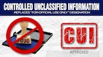"""An """"FOUO"""" stamp sits on top of a blue ink pad next to the letters """"CUI."""" Text also reads """"Controlled Unclassified Information replaces """"For Official Use Only"""" Designation"""