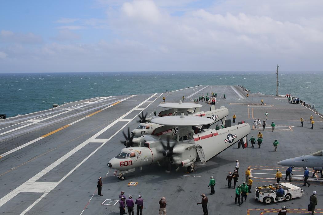 E2 aircraft parked on a flight deck
