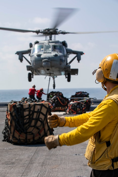 Sailors direct helicopters