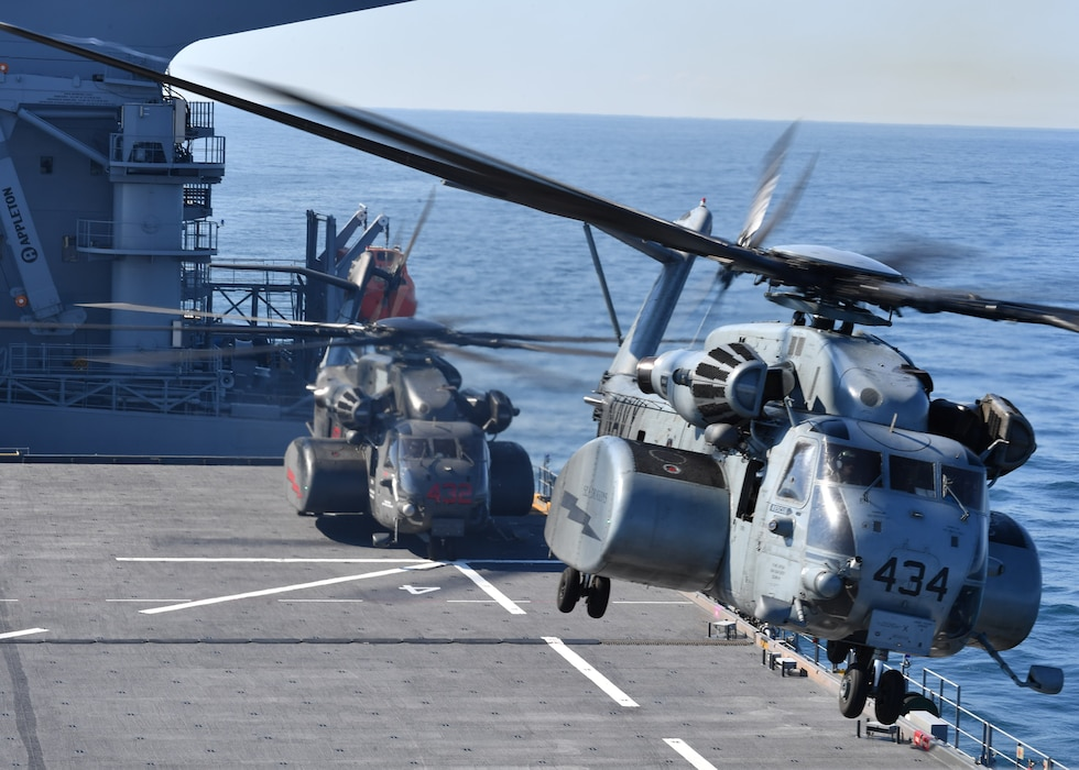 Helicopter taking off from the flight deck